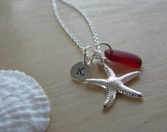 Red Sea Glass Starfish Necklace Personalized Stamped Initial Red Beach Glass Beach Wedding Bridesmaid Jewelry Bridesmaids Gifts