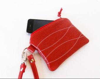 Small Leather Wristlet Wallet, Minimalist Wallet, Leather Clutch Wallet, Women's Wallet, Small Leather Purse, Red Zipper Wallet