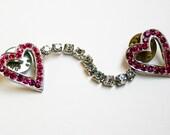 Vintage Rhinestone Sweater Clip Pink Rhinestone Hearts