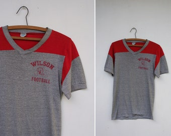 Vintage 70s Wilson Football Heather Grey Champion V Neck T Shirt Paper Thin