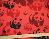 Cute Panda Bears on Cotton Knit Jersey