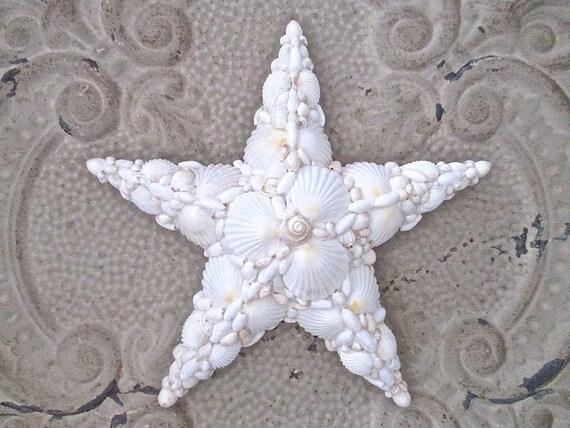 White Nautical Wall Decor : Nautical shell star white wall decor beach cottage by