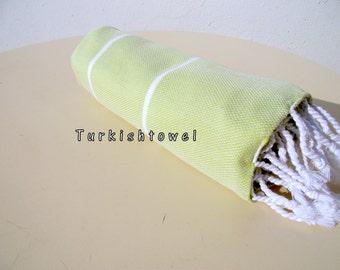 Turkishtowel-2015 Collection-Soft,High Quality,Hand Woven,Cotton Bath,Beach,Pool,Spa,Yoga,Travel Towel-Apple Green,White Stripes
