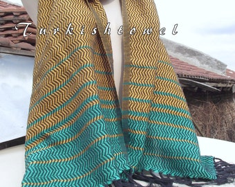 Turkishtowel-2015 Collection-Hand woven,loose weave like gauze cotton warp and weft,soft Shawl-Very warm,lovely-Mustard,Green pin stripes