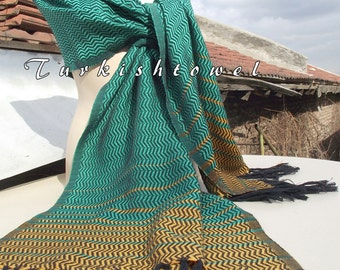 Turkishtowel-2015 Collection-Hand woven,loose weave like gauze cotton warp and weft,soft Shawl-Very warm,lovely-Green,Mustard pin stripes
