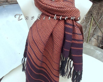 Turkishtowel-2015 Collection-Hand woven,loose weave like gauze cotton warp and weft,soft Shawl-Very warm,lovely-Deep burgundy,peach stripes