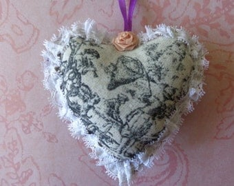 Toile Fabric Heart Ornament by Pepperland