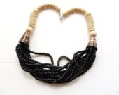 Vintage Wood Necklace Black and Natural Tone Beads Multi Strand