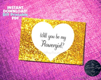 PRINTABLE Will You Be My Flowergirl Card Instant Download Folded Blank Gold Glitter Pdf Template DIY Wedding Elegant Cheap Maid of Honor New