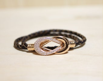 Rose Gold Plated Eternity Motive leather Bracelet(Dark Brown)