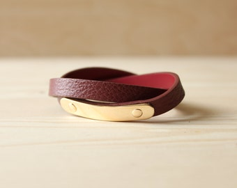 YC Gold Brass Soft Togo Leather Bracelet(Burgandy)