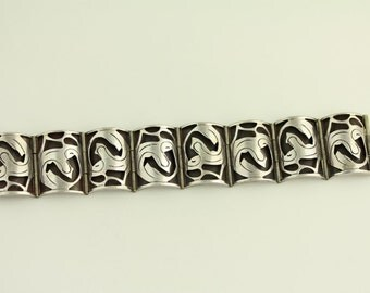 Vintage Los Ballesteros Taxco Sterling Silver Bracelet wide link cut out design (ET05 )
