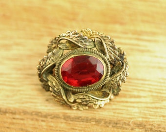 Victorian Red Stone Gold Filled Brooch (ET406 )