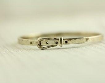 Vintage Sterling Silver Bracelet Mexican Buckle Bangle Adjustable (ET550 )