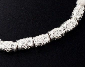 15 of Karen Hill Tribe Silver Flower Printed Spacer Beads 4x6mm. :ka4053