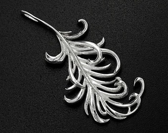 1 of 925 Sterling Silver Feather Pendant 14x30mm. Polish Finished. :tm0053