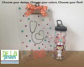 Gift set: Personalized with name acrylic tumbler or water bottle and clipboard - Cute Dental hygienist or Nurse, RN