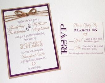 Rustic Invitations - Plum and Twine - Custom Wedding Invitations
