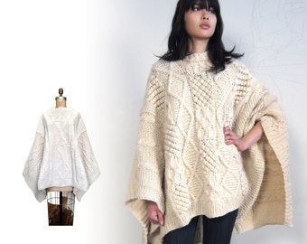 HANDKNIT WOOL PONCHO Sweater Cape from Vintage Fishermans sweaters White Cream Ivory Shawl Warm & Cozy