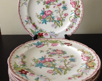 Vintage Set of Seven 1920s Mintons England Classic Couckoo Pattern China Lunch Plates