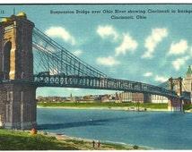 Cincinnati OH Ohio River Suspension Bridge Linen Postcard, Antique / Vintage Color Ephemera c1940s
