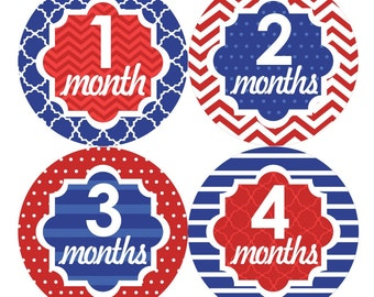 Baby Monthly Stickers FREE Baby Month Milestone Sticker Baby Month Stickers Baby Girl Bodysuit Sticker 4th July Chevron Blue Red White 108G