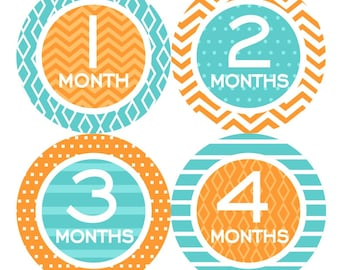 Baby Month Stickers FREE Baby Month Milestone Sticker Baby Monthly Stickers Baby Boy Bodysuit Sticker Chevron Teal Turquoise Orange 086B