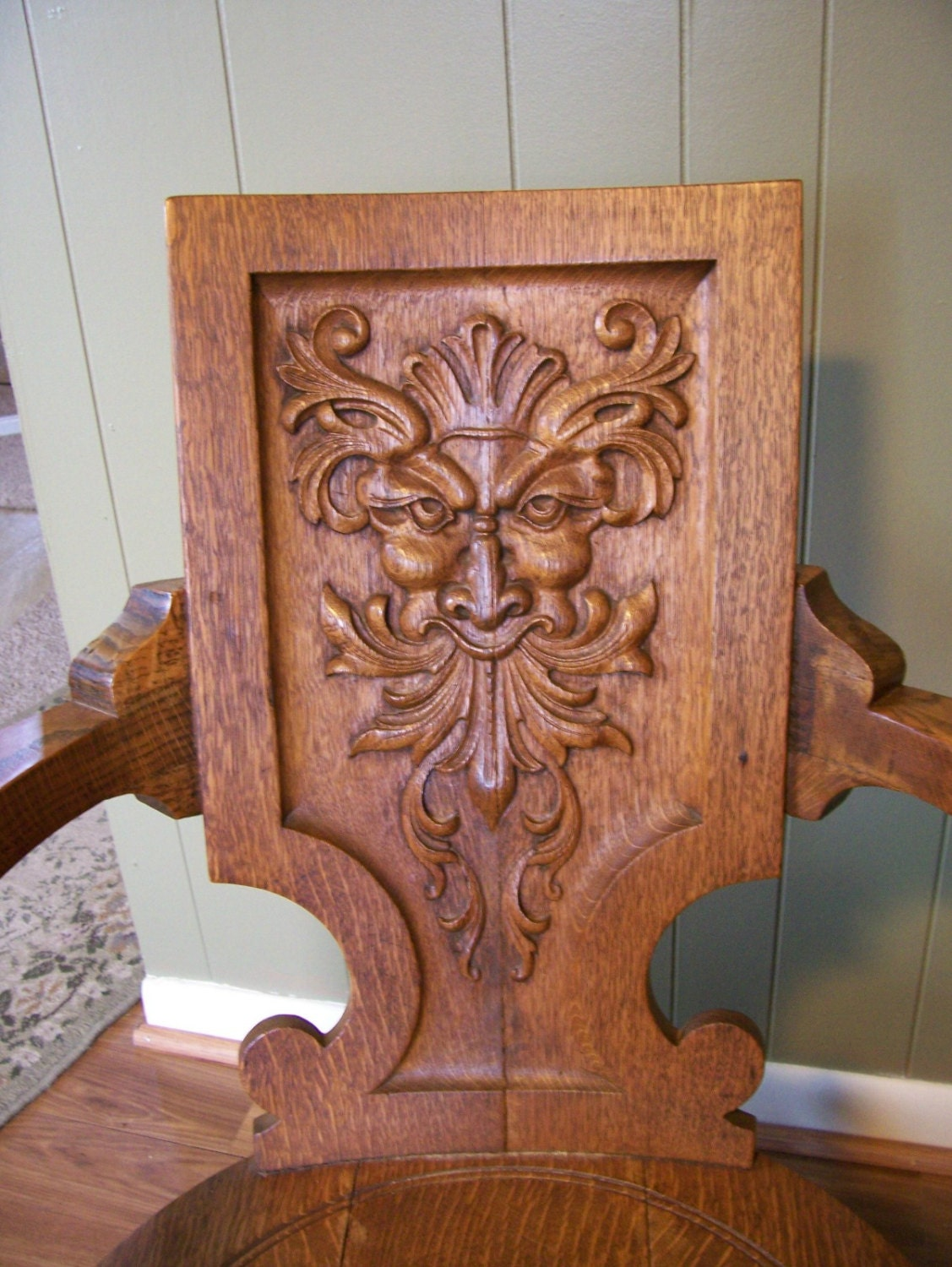 Antique Quartersawn Oak Rocking Chair with Carved GREEN MAN FACE c1900s  Mythical - Antique Quartersawn Oak Rocking Chair With Carved GREEN MAN FACE