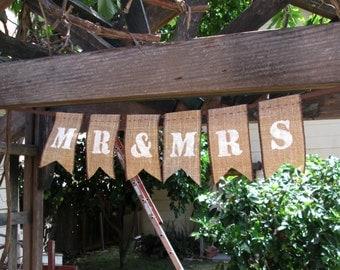 MR & MRS Wedding Burlap Banner