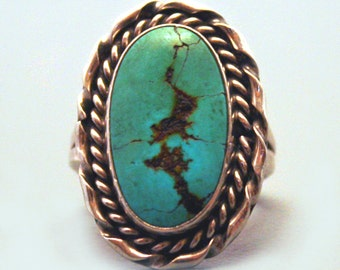 Vintage Navajo Ring Sterling Silver & Turquoise Ring Blue Green Gemstone Jewelry Native American Indian Jewelry Tribal Ring sz 7 sh