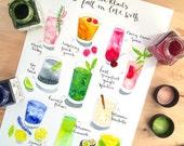 Cocktail Art Print - Watercolor cocktail illustration