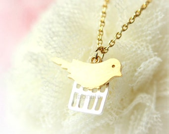 Caged Bird Necklace / choose your color / gold and silver