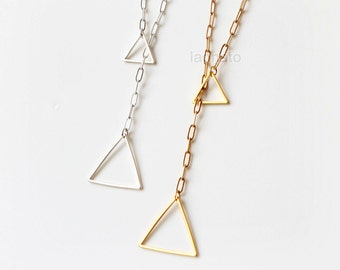 Triangles Lariat Y Necklace / long necklace, choose your color