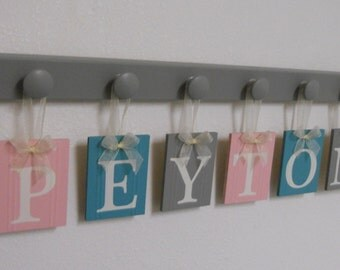 Bedroom Wall Decor | Baby Nursery Wooden Letters | Sign Painted Grey | Custom Hanging Ribbon Name Tags in Light Pink, Green Teal, Gray
