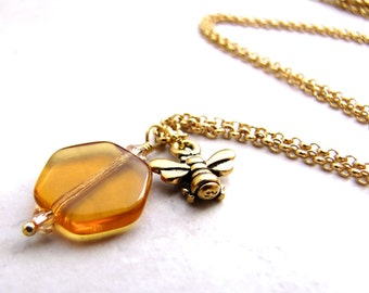 Bee Necklace, Honey Necklace, Bumblebee Necklace, Honeycomb Necklace, Amber Necklace