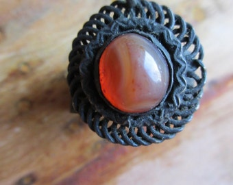 Vintage 60's Boho Wide Ring Agate Hippie 7.5