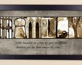 """Alphabet Photography Letter Photo Art """"FAMILY"""" 10x20 Framed"""
