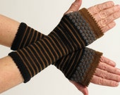 Merino Wool Wrist Warmer Fingerless Gloves, Black, Brown and Charcoal, Long