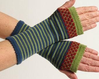 Merino Wool Wrist Warmer Fingerless Gloves, Blue, Long