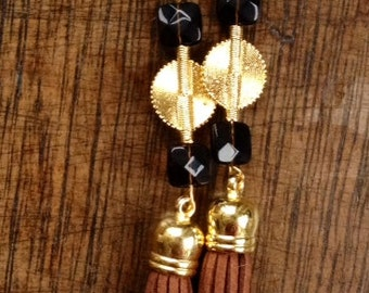 Brown Aflé Bijoux Suede and Smokey Quartz Earrings