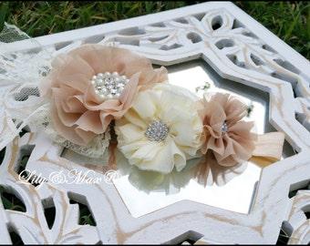 Blush baby lace headband,Champagne  rustic lace girls headband, rosette headband, rustic headband, baby lace headband, lace flower headband,
