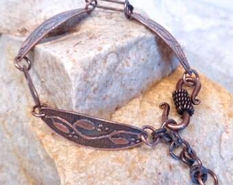 Handcrafted Etched Copper Link Designer Bracelet