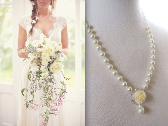 Ivory Necklace Floral Jewelry Wedding Jewelry