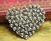 5 pcs Antique Silver Skull Charms Heart Charms 44x36mm CH2282
