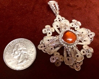 Ornate filigree Jerusalem cross pendant with Amber stone