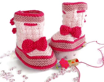 Knitted baby booties, knit baby shoes, woolen baby boots, woolen baby shoes, pink baby booties, baby accessories