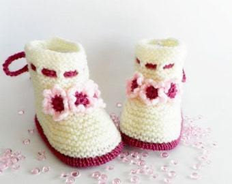 Knitted Baby Booties, Knitted Baby Shoes, White Baby Booties, Baby booties