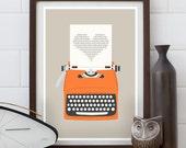 typewriter print, love print, anniversary gift, beige print, mid century modern, retro poster, pop art, minimalist art, hoome decor, words