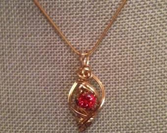 Red CZ charm pendant necklace 14K GF