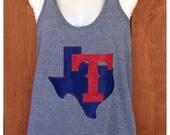 Texas Rangers Bling  Razorback Tank Top